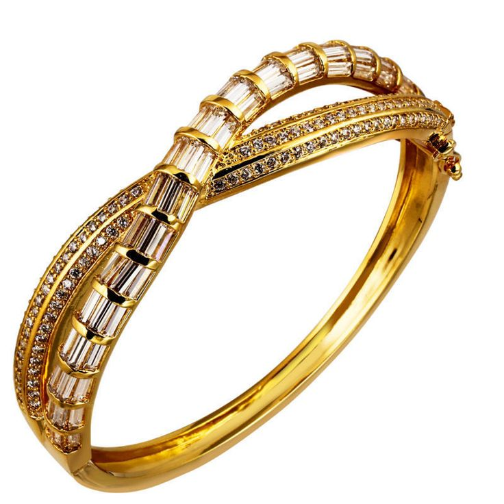 TT Deluxe Women CZ Bangles Gold & White color Rectangle & Round AAA Cubic Zirconia Punk Bracelets Bridal Wedding Jewelry