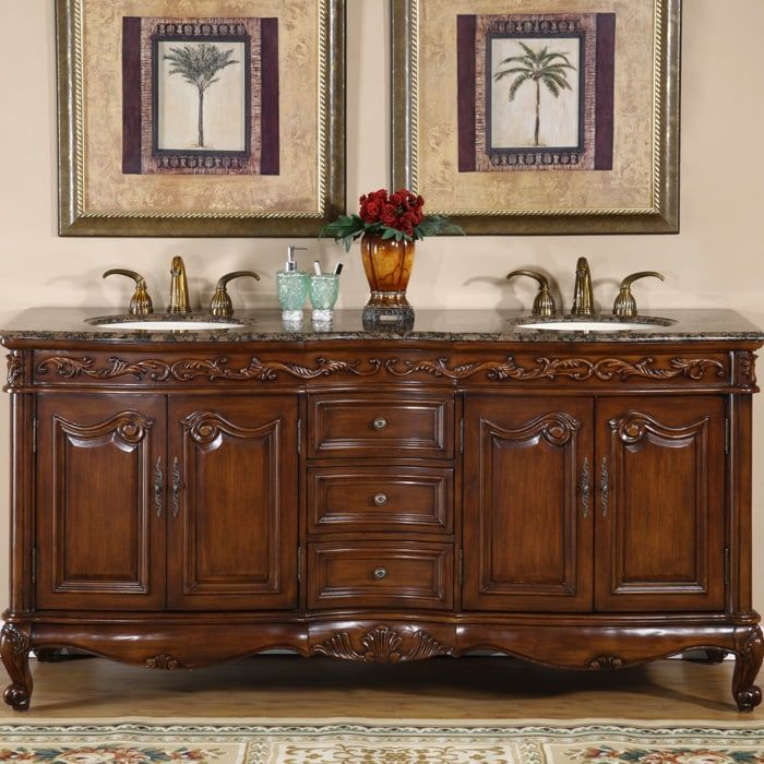 Silkroad Exclusive Stone Counter Top Double Sink Cabinet 72 Inch Bathroom  Vanity | Overstock.