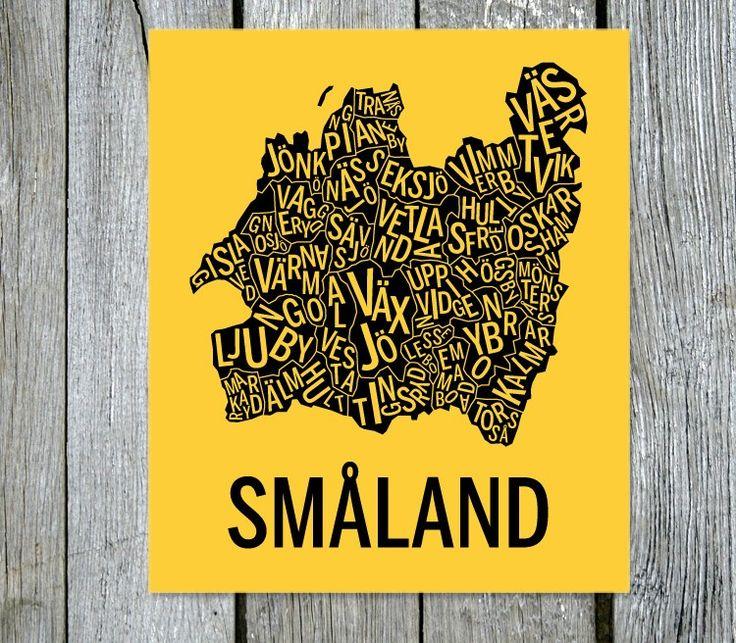 Småland. Sverige. Karta. Landskap. Map. Print. Affisch. Tavla. Tryck. Poster.