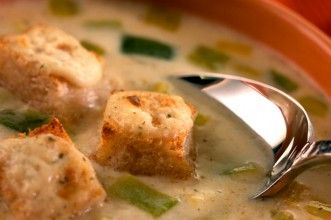 Leek soup with herby croutons recipe - goodtoknow