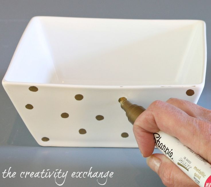 The new oil based Sharpies work best for writing on porcelain or ceramics. The gold is fabulous and looks like liquid gold. You can even run it through the dishwasher and it looks perfect!