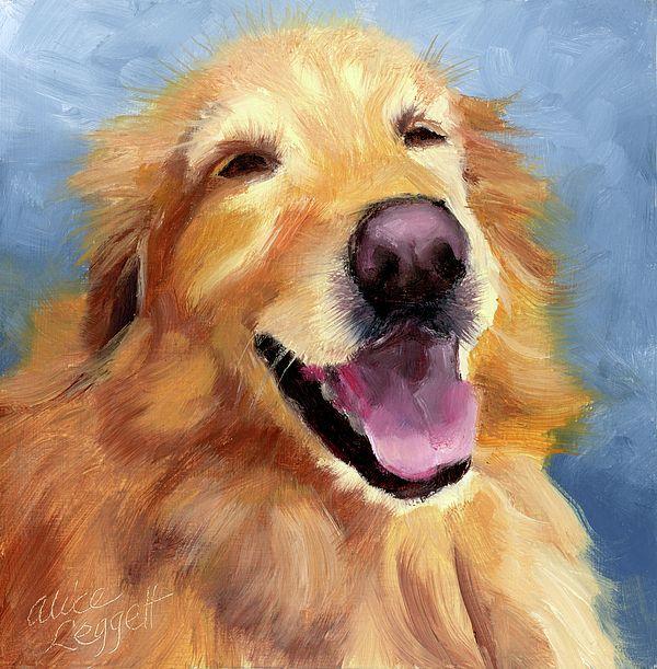 original art  aceo drawing laughing dog retriever