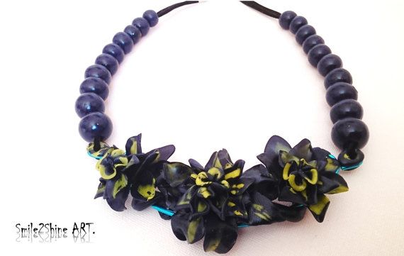 Polymer clay necklace Flower necklace Statement by Smile2ShineArt