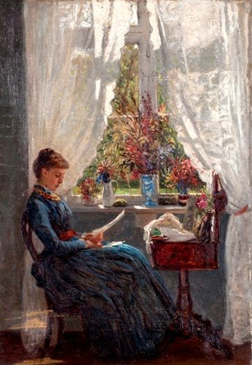Die lesende am Fenster 1895. Wilhelm A. Lebrecht Amberg (1822-1899) German painter.