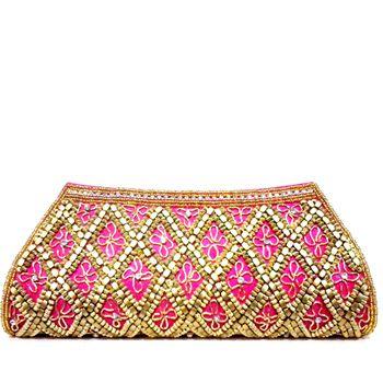 Pink Art silk Clutch Bag