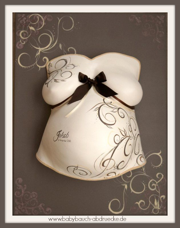 Pregnancy belly casting in soft brown colours in a frame - By Julia Schulze, Germany - www.babybauch-abdruecke.de