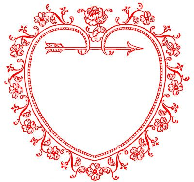 Vintage Valentine's Day Clip Art Heart Frame - also available in pink, black, and rose.