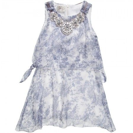 Illudia - Blue Silk Dress with Necklace   Childrensalon