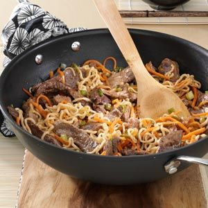 Asian Beef Noodles        1 package (3 ounces) beef-flavored ramen noodles     1 pound beef top sirloin steak     1 jalapeno pepper, seeded and finely chopped     1 tablespoon canola oil     2 tablespoons water     1 tablespoon steak sauce     1 medium carrot, shredded     2 tablespoons sliced green onion     1/4 cup salted peanuts