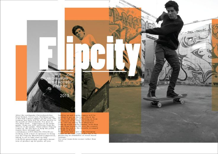 magazine double page spread   skateboarding   layouts
