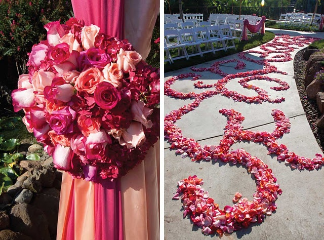 pink mandap and aisle decor
