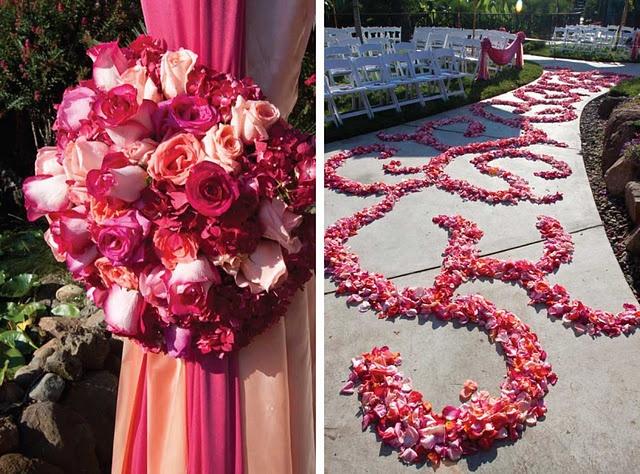 pink mandap and aisle decor