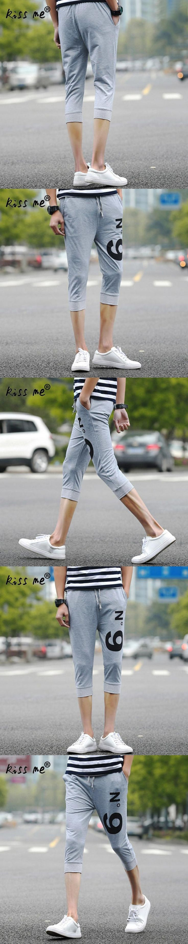 Summer style casual Skinny shorts men slim Drawstring shorts homme male capris knee length trousers all-match brand clothing