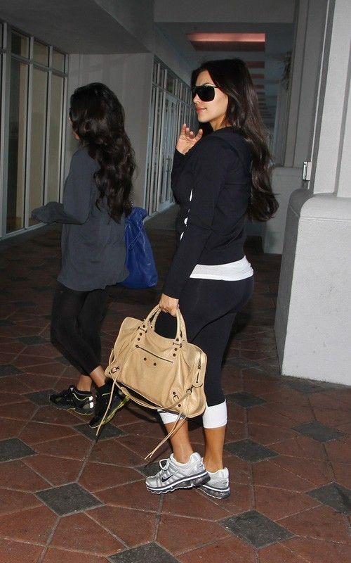 Kim Kardashian wearing Chanel 4160 Sunglasses Balenciaga City Bag in Sahara Nike Air Max+ 2009 sneakers Nike Rib Tank Top Muscle Flex VATA Notice Me Capri. Kim Kardashian David Barton Gym in Miami March 20 2010.