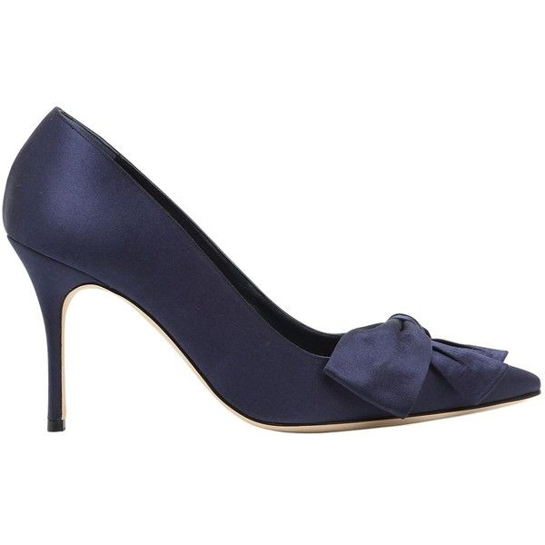 Manolo Blahnik Women 90mm Beccara Bow Silk Satin Pumps ($980) ❤ liked on Polyvore featuring shoes, pumps, navy, navy blue high heel shoes, high heeled footwear, bow pumps, high heel shoes and high heel pumps