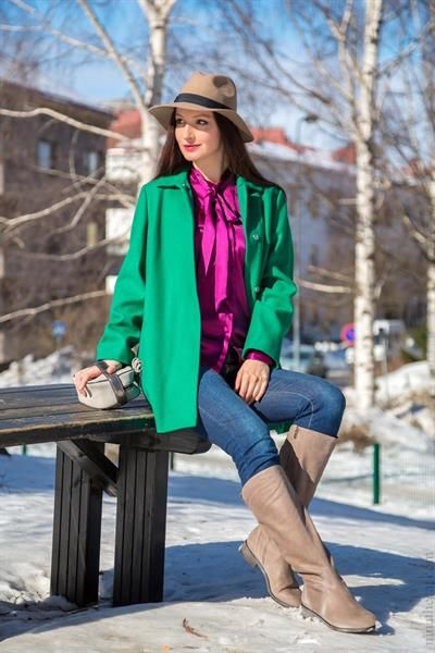 Пальто асос зеленое
