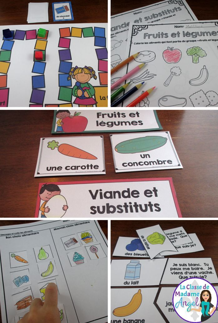 Les 4 groupes alimentaires!  Fun set of centers and activities to teach about Canada's Food Guide and the Four Food Groups in French!