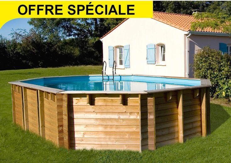 Piscine Auchan, achat piscine pas cher, SUNBAY Piscine bois ovale SEVILLA : 8,72 x 4,72 x 1,46m prix promo Auchan 5 299.00 € TTC au lieu de 6 890 €