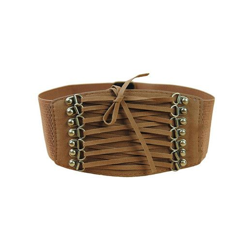 Sueded Lace-up Stretch Belt