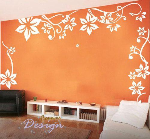 Diseño:  Grandes flores volando mural vinilo pared arte gráfico Sticker Decal    Tamaño:  tamaño acabado de pared es aprox. 160 * 120cm / 64 * 48   1 *