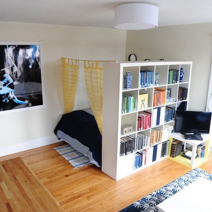 21 design hacks for your tiny apartment.  Example: tiny apartment storage room divider                                                                                                                                                      More
