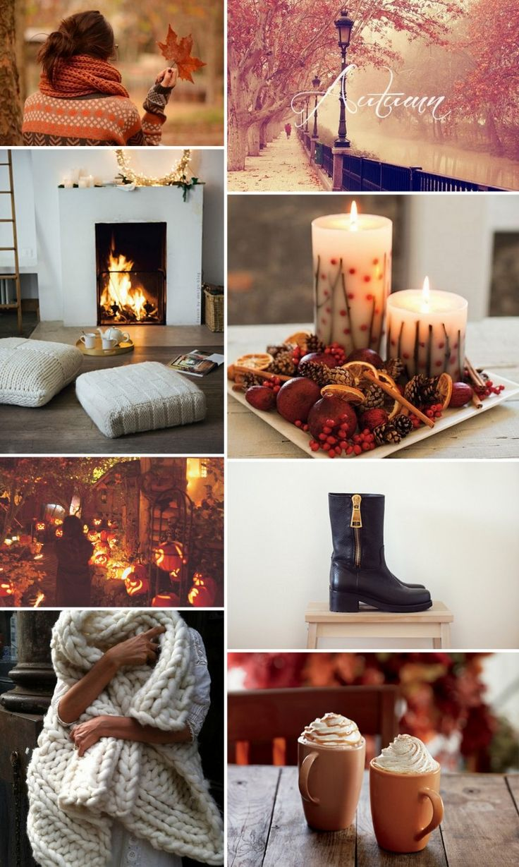 Things I love about autumn - cosy chunky knits, log fires, candle light, hot chocolate, boots and amazing colours #rockmyautumnwedding @rockmywedding: