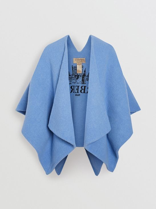 4399bbc1d Embroidered Skyline Wool Alpaca Blend Poncho in Hydrangea Blue - Women |  Burberry Canada - cell image 3