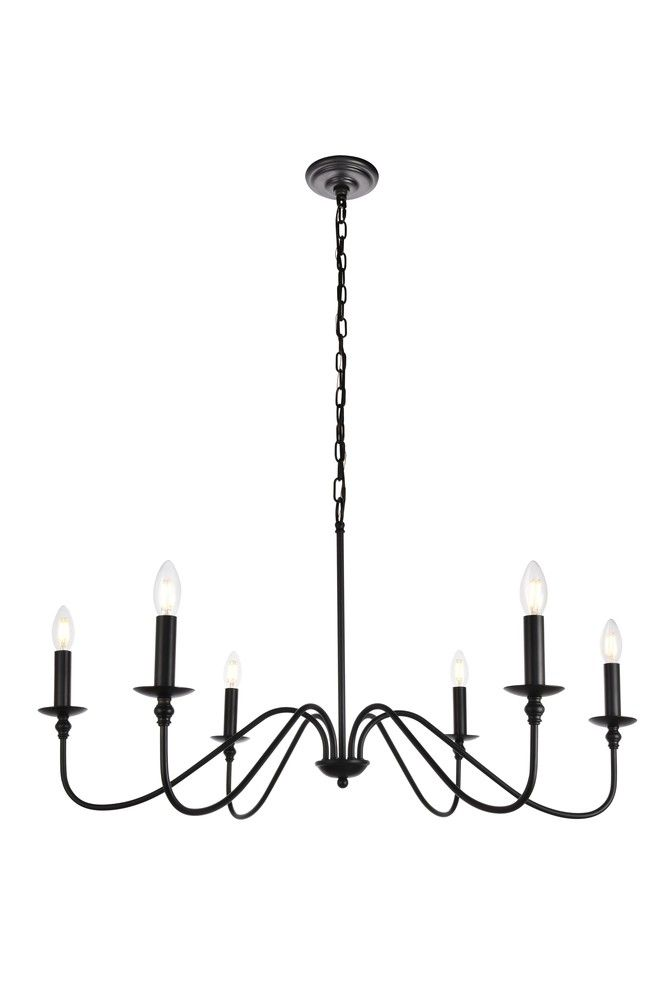 Rohan Collection Chandelier D36 H19 Lt 6 Matte Black Finish