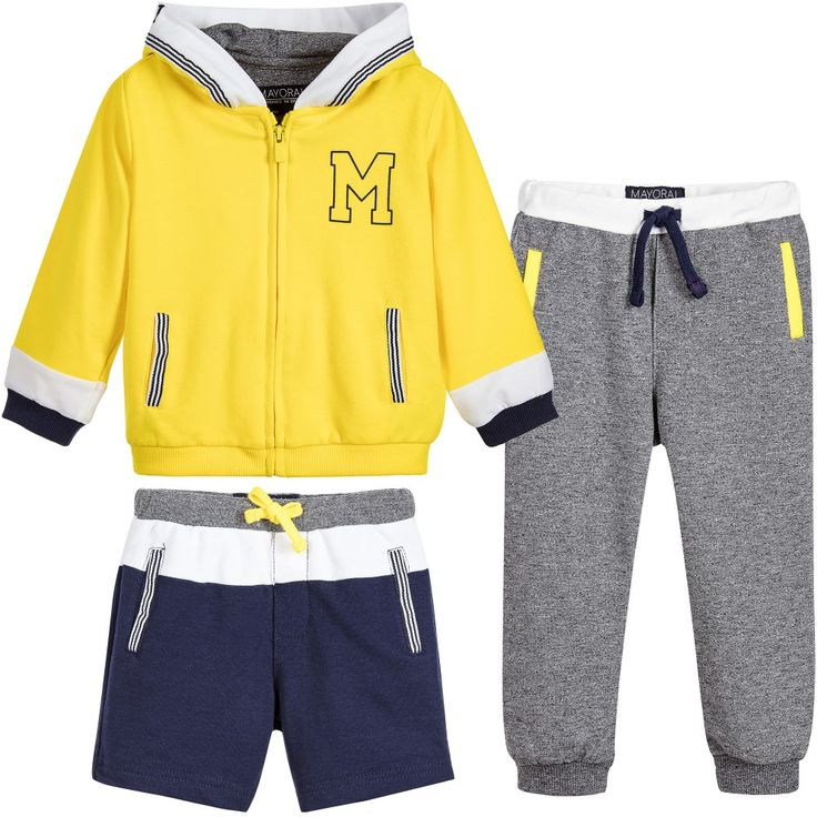 Baby boys three piece tracksuit from Mayoral. In grey, blue and yellow, the set has a hooded top with zip fastening, trousers in grey and a pair of shorts. They are all made in soft cotton jersey and have elasticated, drawstring waistbands.