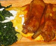 polenta with baby ribs and spinach