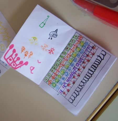 Construction du petit livre de graphisme L'enfant dessine sur la page blanche du petit livre, avec des feutres fins, sans colorier. L'enseignant repère des graphismes spontanément tracés dans les dessins et les reproduit dans la page de droite, en les compliquant un peu (combinaison de plusieurs graphismes, orientation, régularité…) On …