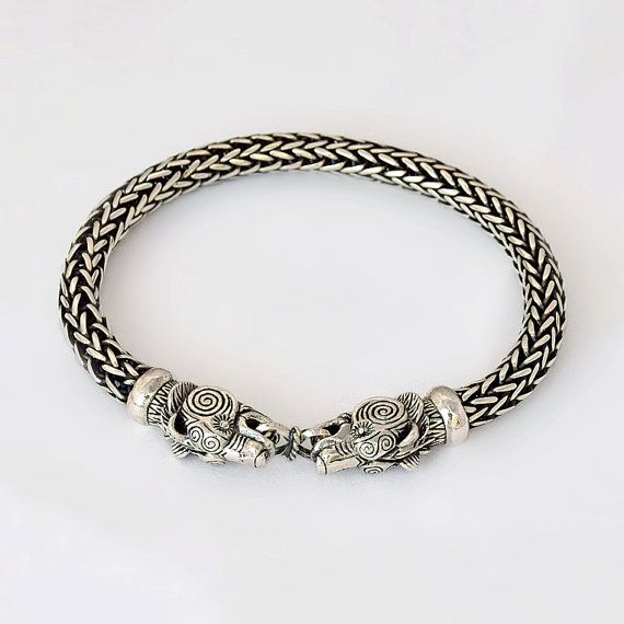 VIKING BEAR Bracelet. VIKING Silver Bear Head Bracelet. Wolf Head Bracelet.Viking Sterling Silver Bracelet. Wolves Torc. Fenrir Odin