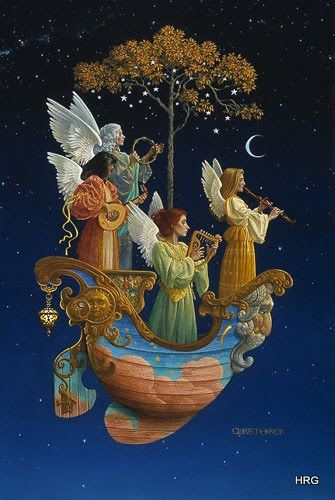Evening Angels by James Christensen I own this print and just love it. The boat is suppose to be God and there is a CD hat came with it with music on it.