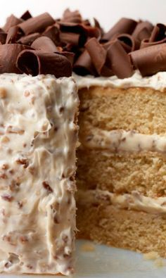 Southern Praline Cake ~ Sweet and moist layered cake is topped with decedant pecan buttercream frosting