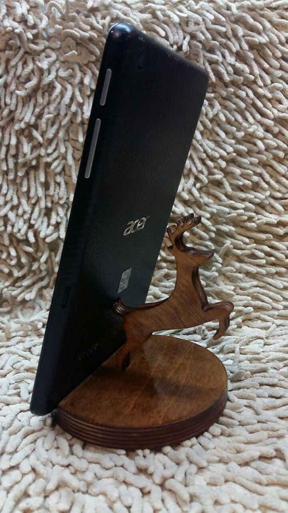 Venados de madera teléfono soporte soporte de madera