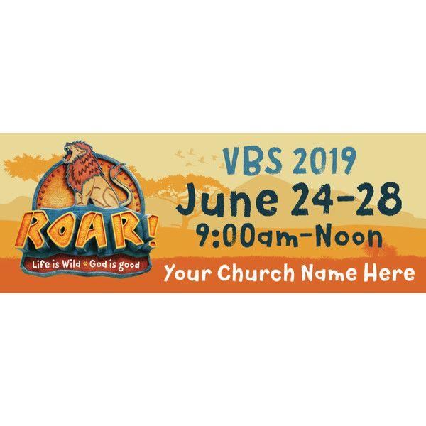 Vacation Bible School 2019 VBS Custom Church Name Roar B Vinyl Banner thm
