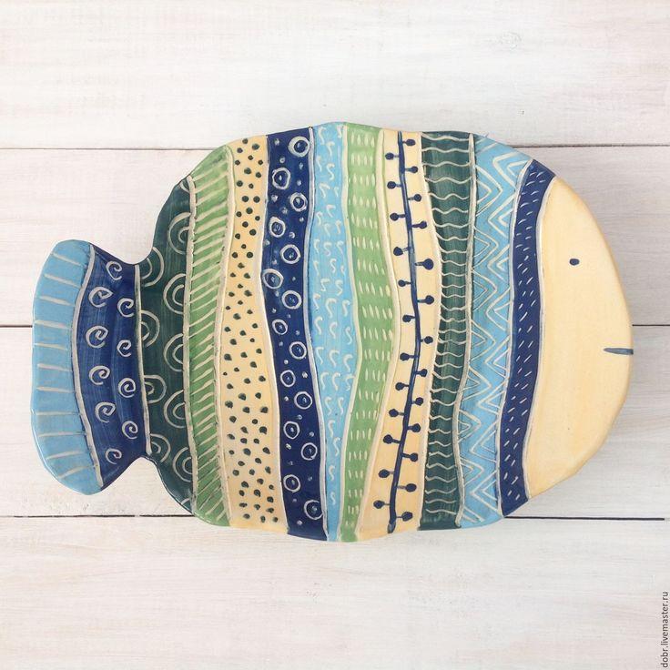 """Ceramic plate / Купить Керамическое блюдо """"Рыба узорчатая"""" - комбинированный, желтый, синий, голубой, зеленый, рыба, тарелка"""