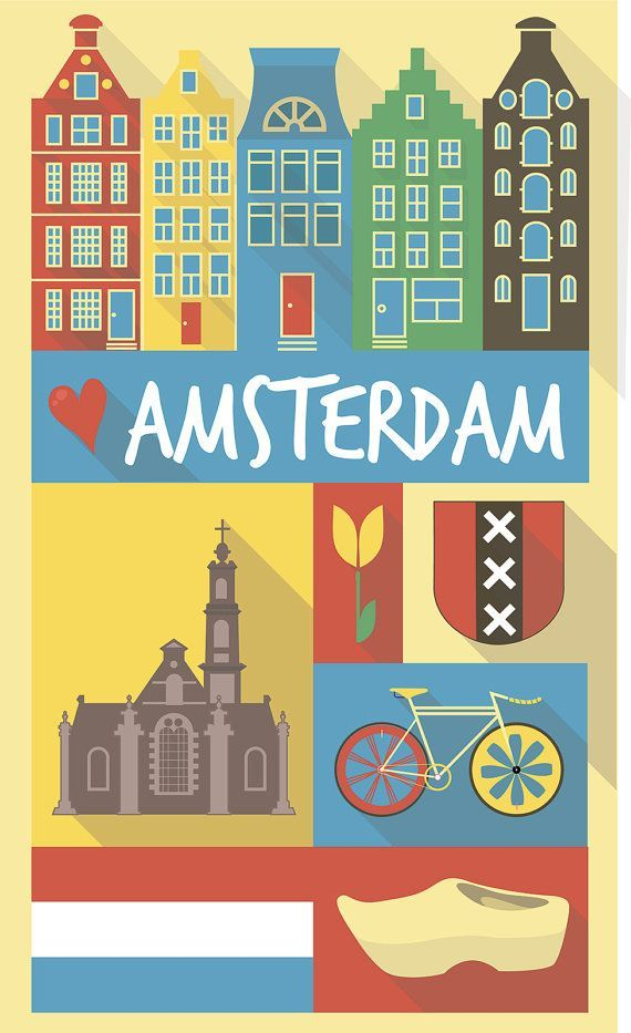 City poster vintage city poster Amsterdam di Chachaprints