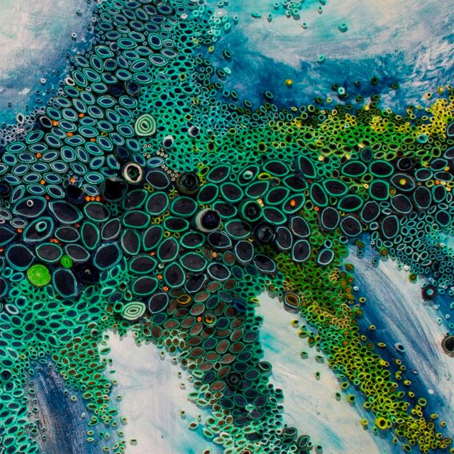 """""""Amy Genser plays with paper, paint, and glue to explore her fascination and obsession with texture, pattern, color. Evocative of natural forms and organic processes, her work is both irregul…"""