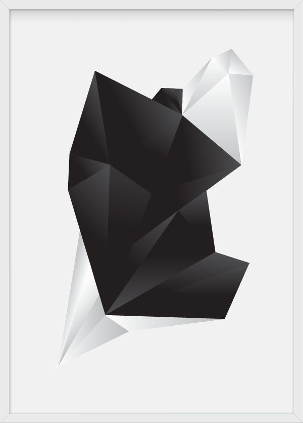 illustration by Julia Kaiser, #black #diamond #geometry #material #marble #concrete #stone #multifaceted #polyhedra, #minimalism #crystal #facets #poster #artprint #limitededition