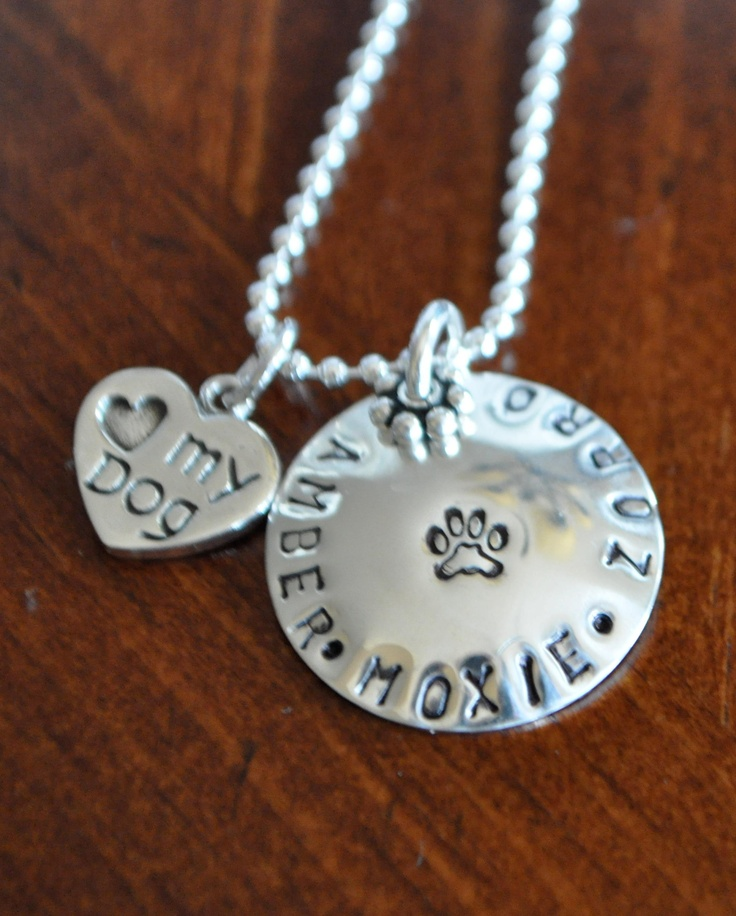 This pet lover's necklace is a pretty way for someone who loves their dog or cat to wear their names close to their heart.Create a custom gift today for the dog or cat lover in your life, Mother's Day, a wedding, anniversary, daughter, graduation, nanny or special friend.