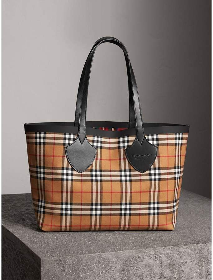 9e9ff4ca8585 Burberry The Medium Giant Reversible Tote in Vintage Check