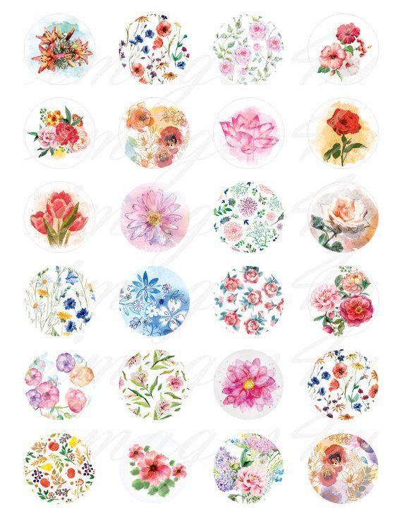 Watercolor Flowers Digital Collage Sheet 1 Bottle Cap Images 1