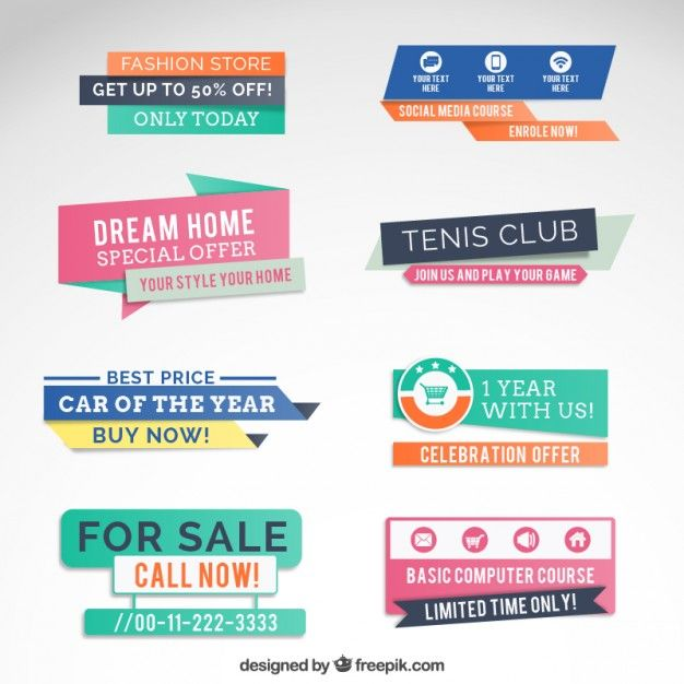 Colorful sale banners Free Vector
