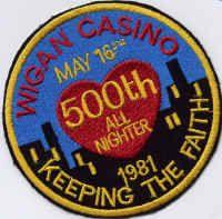 Wigan Casino 500th All Nighter badge, May 16th 1981