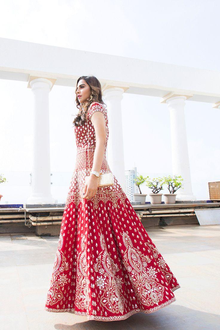 Indian Women Suits - Floor Length Anarkali | WedMeGood | Crimson Red Anarkali with Silver Motif Embroidery #wedmegood #anarkali #red #indianbride #indianwedding #bridal