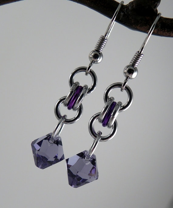 Purple Swarovski Crystal with Simple Chain Maille by CreationsbyUli on Etsy
