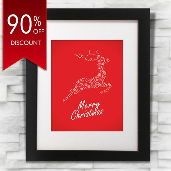 90% OFF DISCOUNT, Merry Christmas Printable Art 8x10 by oyedesign