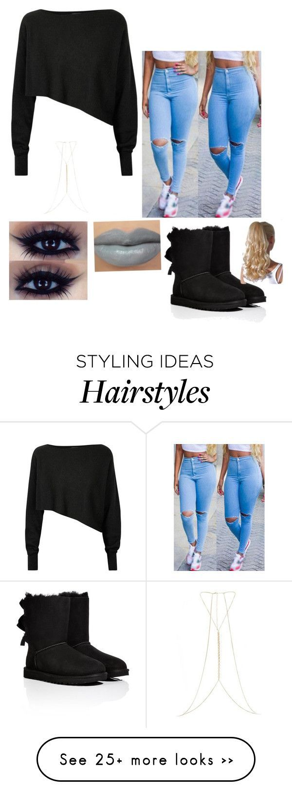 With black hair tho... by queen4evr on Polyvore featuring Crea Concept, UGG Australia and River Island