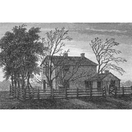 Prison In Carthage Illinois Usa Where Mormon Prophet Joseph Smith And His Brother Hyrum Were Imprisoned And Murdered In 1844 From 19Th Century Print Canvas Art - Ken Welsh Design Pics (18 x 11)